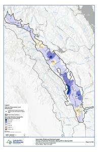 Napa Valley Subbasin Principal Aquifer Change in Saturated Thickness Spring 2014 to 2018