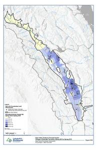 Napa Valley Subbasin Principal Aquifer Change in Saturated Thickness Spring 2018 to 2019